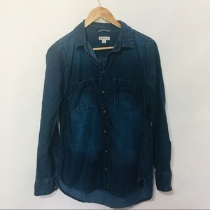 Merona dark wash denim button up